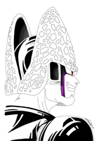 Perfect Cell Smirk WIP by gokujr96