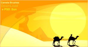 Camels Brushes + Sun PSD . by gamarai
