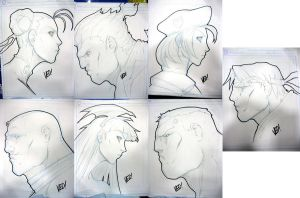 SDCC 2012 head sketches 2 by E-V-IL