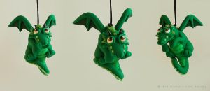 Hanging Green Dragon by LitefootsLilBestiary
