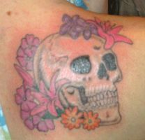 Skull with flowers tattoo by xxmatt-thomasxx
