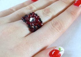 Beaded swarovski ring by PORGEcreations