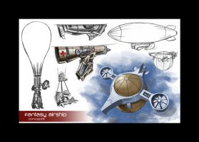 Fantasy Airship Concepts by Razeil753