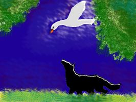 black dog and swan by Eilesselas