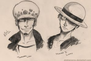 Trafalgar Law and Monkey D. Luffy by AtokLanzeros