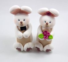 Rabbits Wedding Cake Topper by HeartshapedCreations