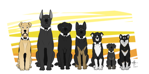 Wayne Dog Family by MayhWolf