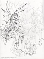 Fairy in the Forest Line Art by SashaFitzgerald