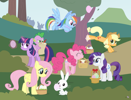 The Mane Six in 'The Equestria Egg Hunt' by dm29