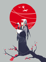 red crowned cranes by onedayfour