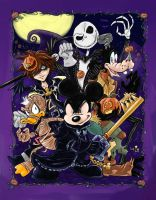 Kingdom Hearts Halloweentown with King Mickey by KneonT