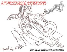 January 2014 Livestream Commission Sketch 6 by lady-cybercat