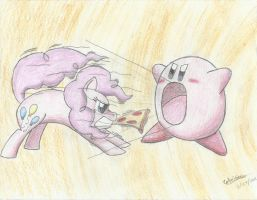 Pinkie Pie vs. Kirby by Sakaerion
