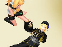 MMD You're under arrest Rin and Len by JetBlue238