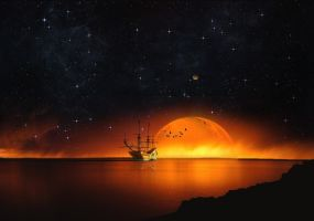 An old ship in a Burning sunset!! by Johndoop