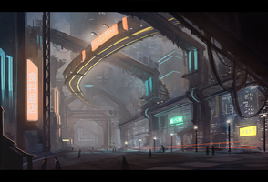 Sci-fi Environmental speedpaint #1 by Keponii