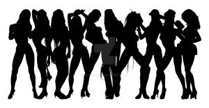 Stripper Girl Silhouettes 9 by egoform
