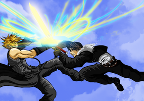 Squall Leonhart VS Cloud Strife by Norman-Fabian-86