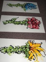 Graffiti Flowers 3 Piece by alice-n-zepplind