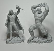 Avengers Mini Figures, Thor and Hulk by LocascioDesigns