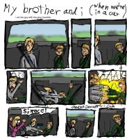 my brother and in a car :3 by thedbp