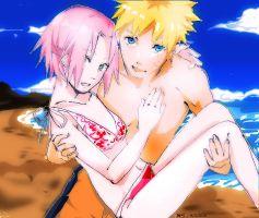 NaruSaku on the Beach by cubes777
