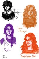Nico, Hazel, Rachel, Reyna Sketches by Kayalina