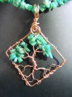 Amazonite chip leaves with copper bark by BacktoEarthCreations
