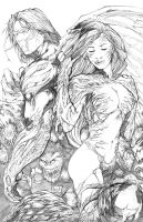 darkness and witchblade pencils by hanzozuken