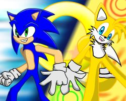 Best friends - Sonic and Tails by Psyche-Angel