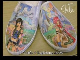 Yuffie and Lightning shoes by Arlequinne
