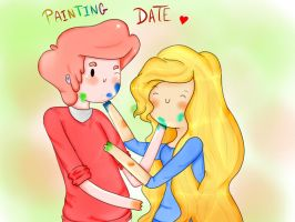 painting date (gumballxfionna) by michelle-lennon9