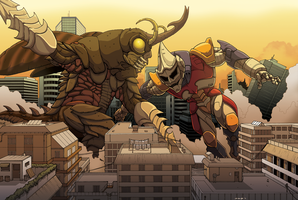 Jet Jaguar vs Megalon! by KaijuDuke