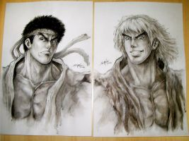 Ryu and Ken - Portraits by Sano-BR