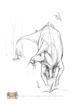 Patreon - Olorotitan arharensis backer sketch by FabrizioDeRossi