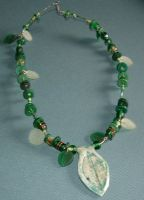 Green Leaf Necklace by MollyD