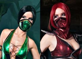 Jade and Skarlet Mortal Kombat cosplay by Nemu013
