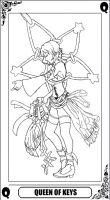 KH Tarot: Queen of Keys (lineart) by way2thedawn