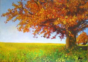 Oil on canvas - Autumn trees by chalollita