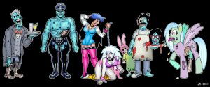 Zombie Queen And Her Pets by curtsibling