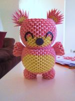 3D origami Pink Teddy by OneLoneTree