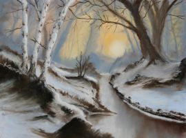 Winter's Sunrise in the Woods - Pastels by 6re9