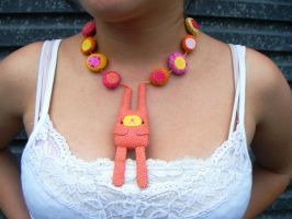 peach and yellow toy necklace by rosieok