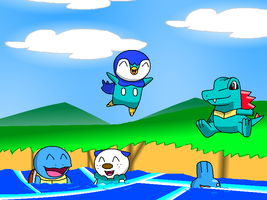 One water starters summer by PikachuFan60
