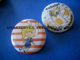 Fionna and Cake-Nip Button Pair set by UsagiLovex