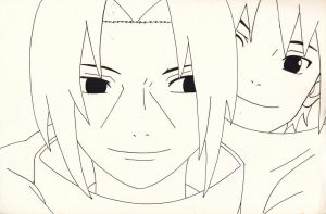 Itachi and Sasuke Uchiha. - Naruto. - Lineart. by IrishRickmaniac