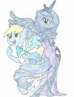 Princess Luna and Derpy Hooves by rocketlucky