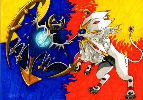 Lunala vs Solgaleo from Pokemon Sun and Moon by Arelle28