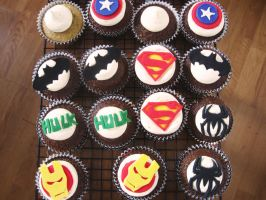 Super Hero Cupcakes by NellieVance