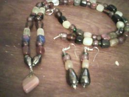 necklace and earrings with stone pendant by rebornshewolf